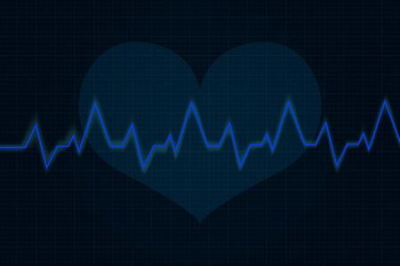 Heartbeat. Cardiogram graph. Blue line on display. Vector illustration Иллюстрация