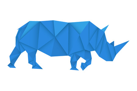 Blue rhinoceros. Polygonal