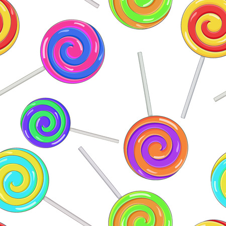 Swirl lollipops as seamless pattern. Colored background. Vector illustration Ilustracja
