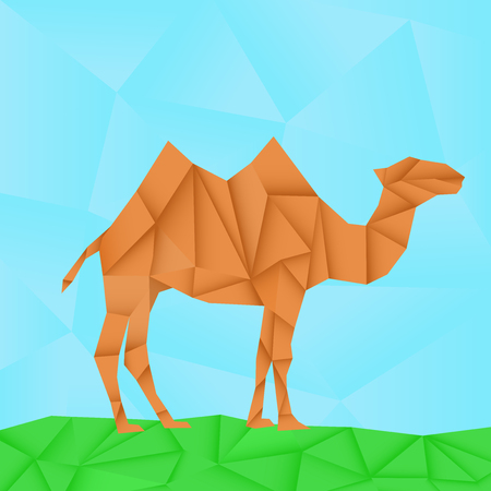 Camel. Polygonal origami like vector illustration Illustration