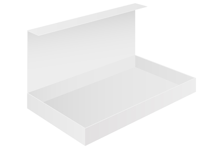 Open box. White package. Vector 3d illustration