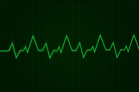 Heartbeat. Cardiogram graph. Green line on display. Vector illustration