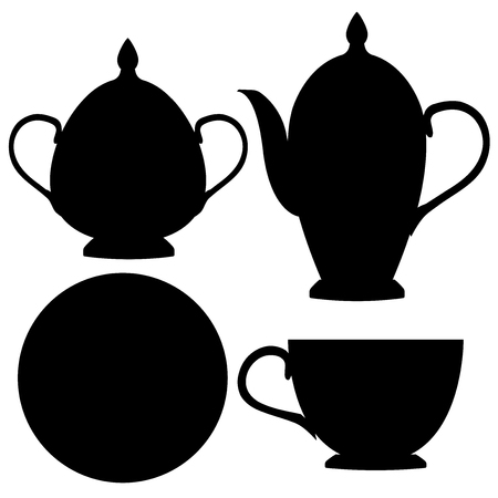 Servizio da tè. Icone piatte nere. Illustrazione vettoriale isolato su sfondo bianco