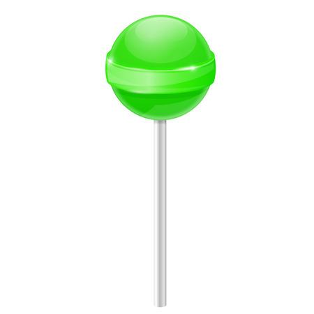 Lizak. Zielony cukierek. Ilustracja wektorowa 3d na białym tle