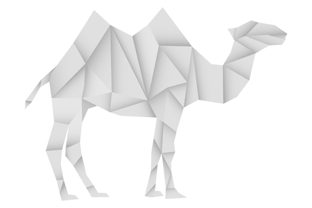 Camel. White paper polygonal