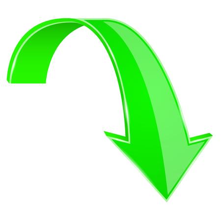 Groene pijl naar beneden. 3D-teken