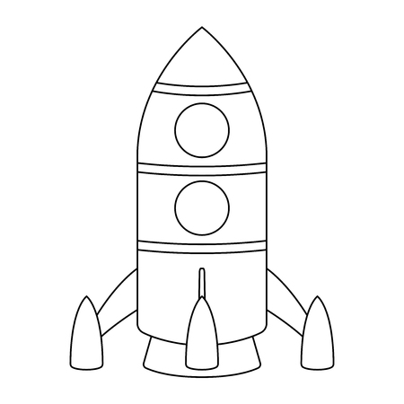 Rocket. Cartoon outline drawing. Vector illustration isolated on white background