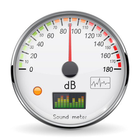 Volume unit meter. Sound audio equipment. Normal level. White glass gauge with chrome frame