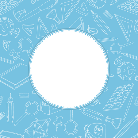 Back to school blue background pattern. With white blank circle template. Vector illustration