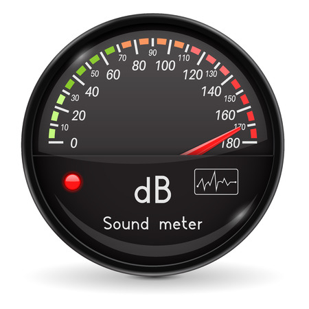 Volume unit meter. Sound audio equipment. High level. Glass gauge with chrome frame 向量圖像