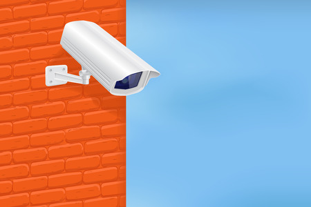 Security camera on red brick wall. With blue sky. Vector 3d illustration