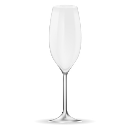 Empty champagne glass. Vector 3d illustration isolated on white background