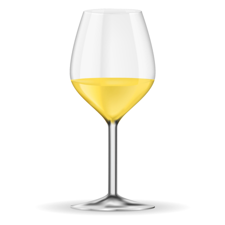 Glass of white wine. Vector 3d illustration isolated on white background