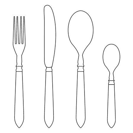 Cutlery set - fork, knife, table spoon, tea spoon. Outline drawing. Vector illustration isolated on white background 写真素材 - 111849918