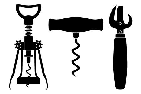 Cavatappi e apriscatole. Disegno nero. Illustrazione vettoriale isolato su sfondo bianco