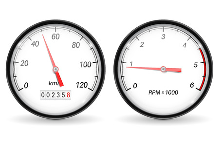 Speedometer and tachometer. White car dashboard gauges. Vector 3d illustration isolated on white background