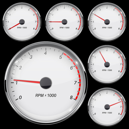 Tachometer set. Different rotation levels. Vector 3d illustration