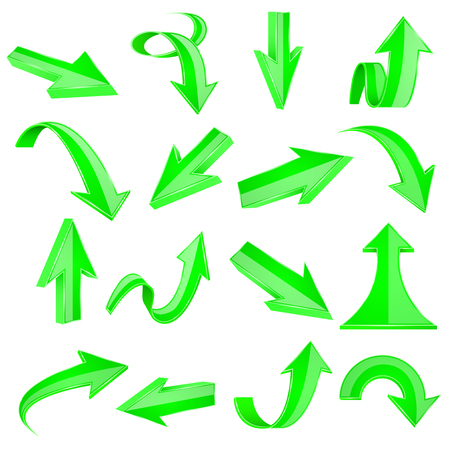 Green 3d arrows. Straight and bent icons. Vector illustration isolated on white background