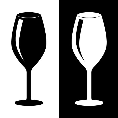 Glass of wine. Black and white silhouette drawing. Vector illustration  イラスト・ベクター素材