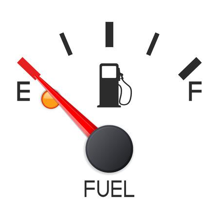 Indicador de combustible. Tanque vacio. Báscula del salpicadero del coche. Ilustración vectorial 3d