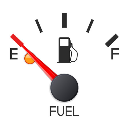 Wskaźnik poziomu paliwa. Pusty zbiornik. Skala deski rozdzielczej samochodu. Ilustracja wektorowa 3d