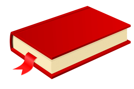Red book with bookmark. Vector 3d illustration isolated on white background