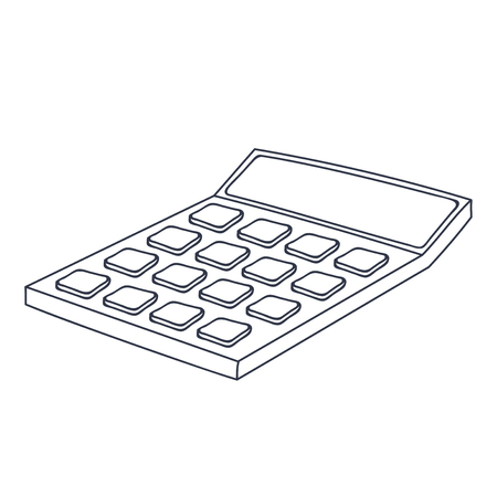 Calculator. Doodle style black and white illustration