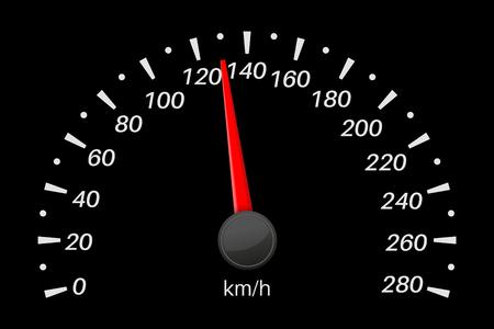 Speedometer. Black vehicle gauge scale. Vector illustration isolated on white background