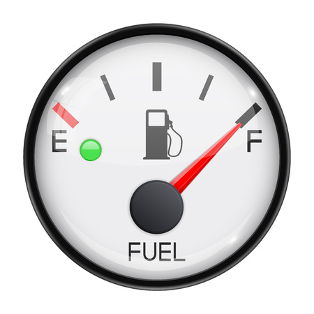 Fuel gauge. Full tank. Round car dashboard 3d device. Vector illustration isolated on white background