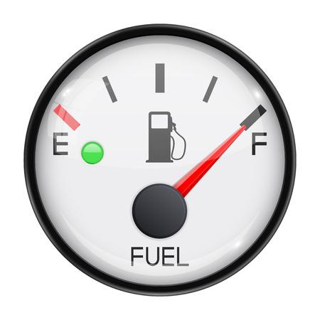 Kraftstoffanzeige. Voller Tank. Rundes Auto Armaturenbrett 3d Gerät. Vektorillustration lokalisiert auf weißem Hintergrund