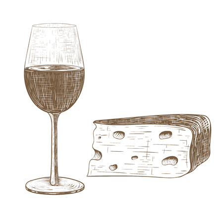 Glass of wine and cheese. Vintage hand drawn sketch. Vector illustration isolated on white background