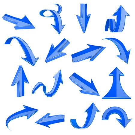 Blue 3d arrows. Straight and bent icons Фото со стока