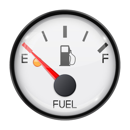 Fuel gauge. Empty tank. Round car dashboard 3d device