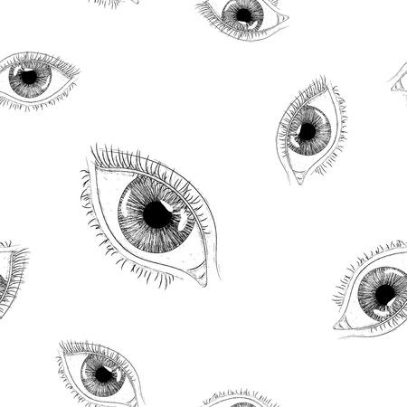 Frauenauge. Hand gezeichnete Skizze. Nahtloser Hintergrund. Vektorillustration