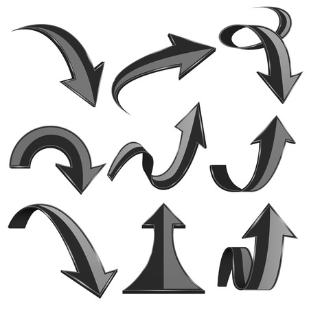 Black 3d arrows. Bent and curled up icons. Vector illustration isolated on white background
