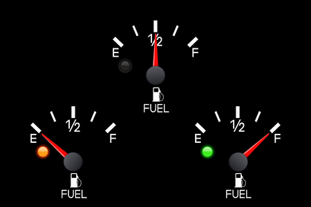 Fuel gauge. Set of car dashboard black scales. Vector 3d illustration