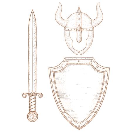 Warrior equipment - sword, shield, horned helmet. Hand drawn sketch