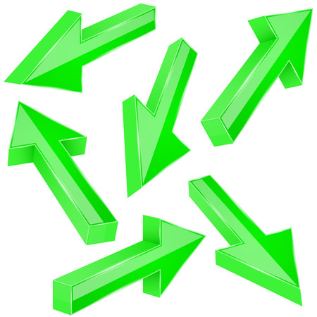 Green 3d arrows. Set of shiny straight signs. Vector illustration isolated on white background Illustration