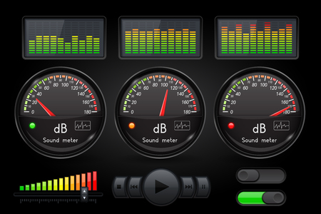 Decibel sound meter with equalizer and buttons. Black user interface. Vector 3d illustration Illustration