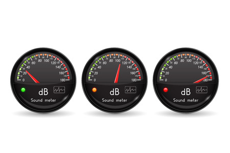 Decibel gauge. Volume unit. Black gauge with chrome frame. Vector 3d illustration isolated on white background