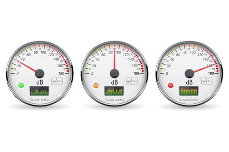 Decibel gauge set. Volume unit. Glass gauge with chrome frame. Vector 3d illustration isolated on white background