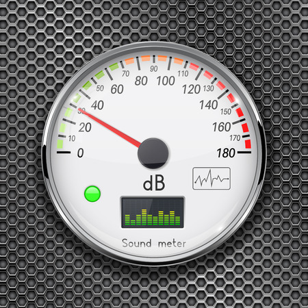 Decibel gauge. Volume unit on low level. Glass gauge with chrome frame on metal perforated background