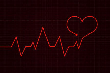 Heartbeat. Cardiogram graph with red heart. Vector illustration