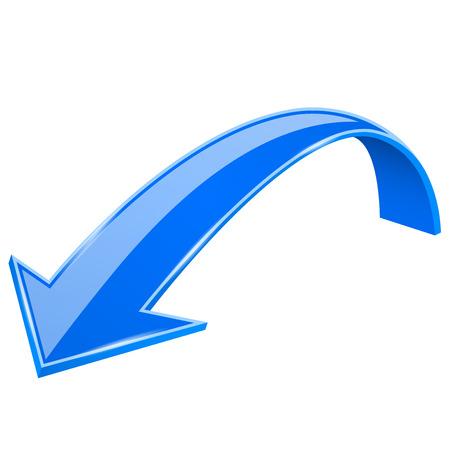 Blue down arrow. 3d previous sign