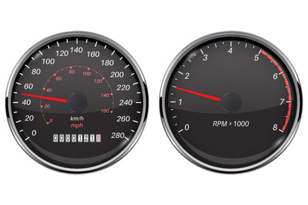 Speedometer and tachometer. Black gauge with metal frame