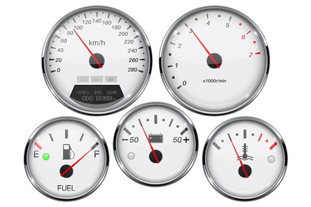 Car dashboard 3d gauges. Speedometer, tachometer, fuel gauge, temperature and accumulator charge device Standard-Bild