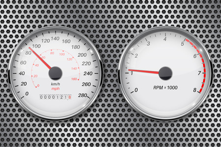 Speedometer and tachometer on metal perforated background