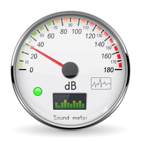 Decibel gauge. Volume unit on low level. Glass gauge with chrome frame. Vector 3d illustration isolated on white background Foto de archivo - 110488369