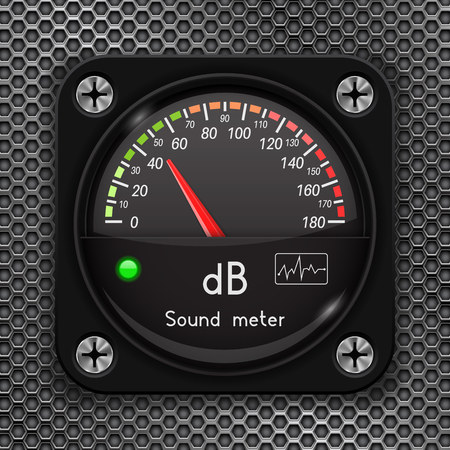 Volume unit meter. Decibel gauge. Sound audio equipment on metal perforated background Ilustração