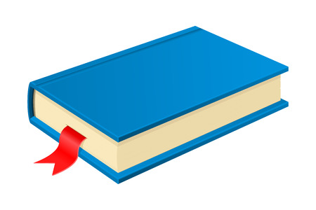 Blue book with bookmark. Vector 3d illustration isolated on white background 向量圖像
